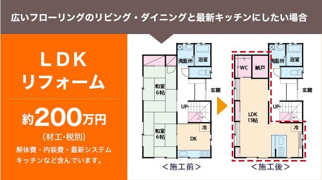 広いフローリングのリビング・ダイニングと最新キッチンにしたい場合 LDKリフォーム 約200万円(材工・税別) 解体費・内装費・最新システムキッチンなど含んでいます。